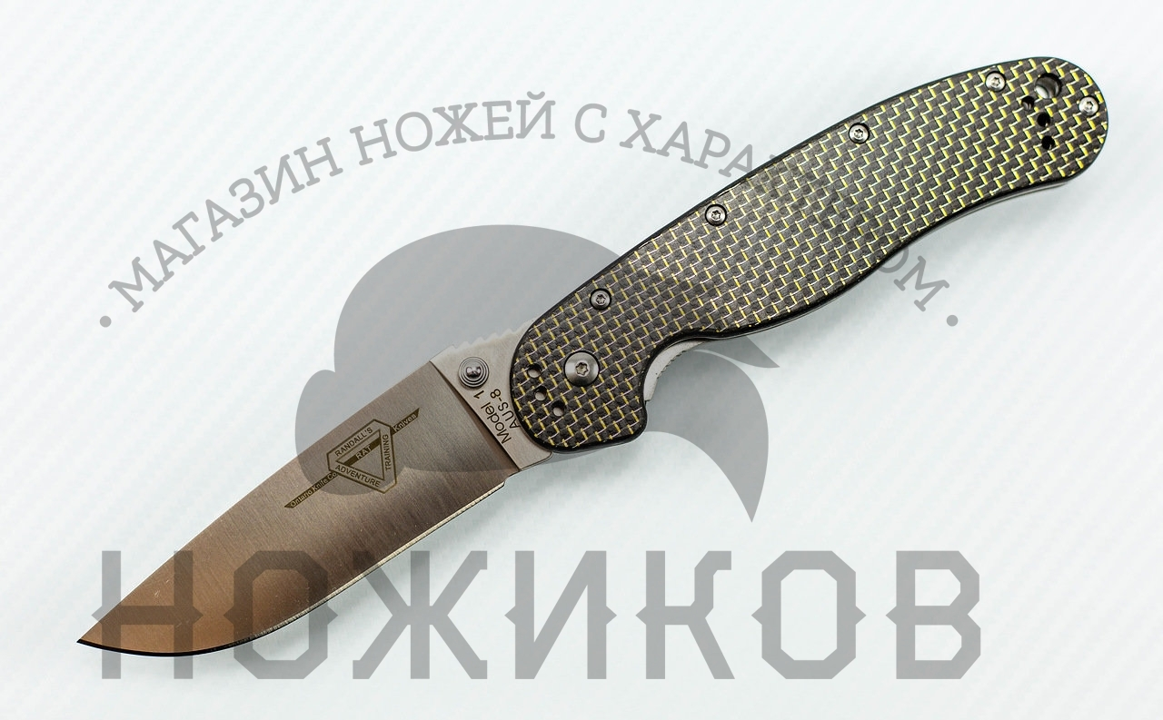 все цены на Складной нож Rat-1, карбон черный онлайн