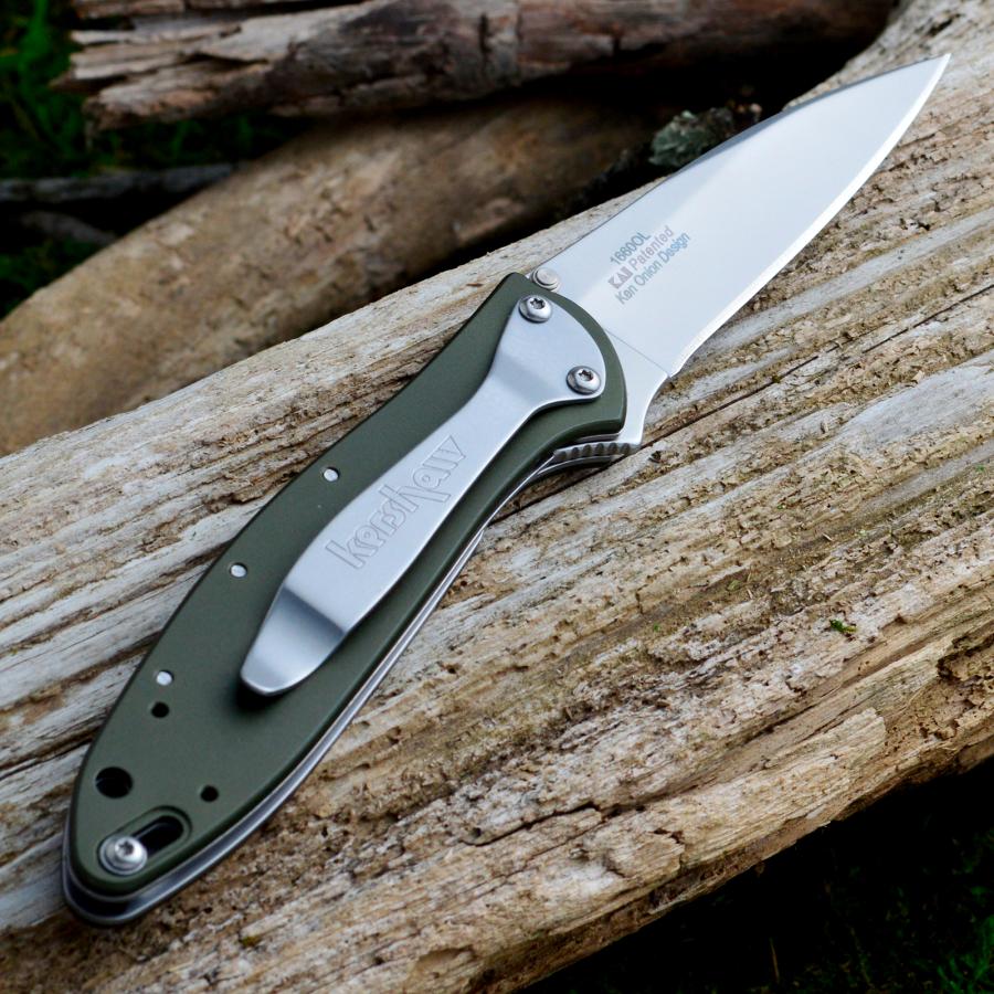 Фото 4 - Складной нож Leek - Kershaw 1660OL, сталь Sandvik™ 14C28N, рукоять анодированный алюминий оливкового цвета