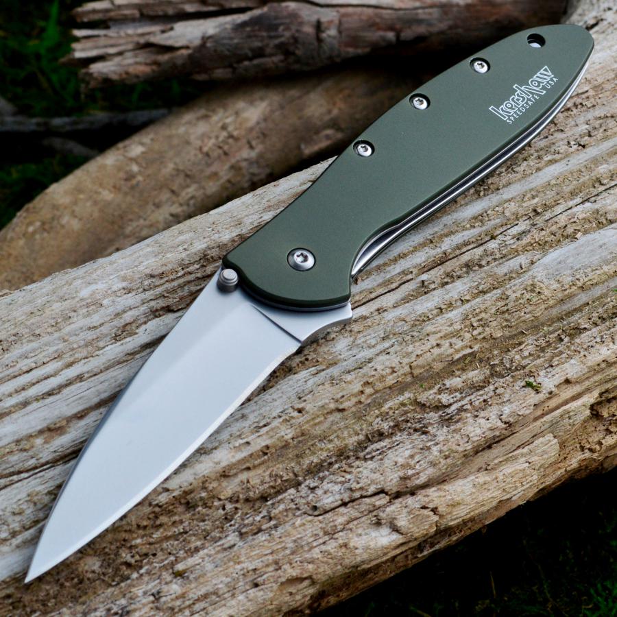 Фото 5 - Складной нож Leek - Kershaw 1660OL, сталь Sandvik™ 14C28N, рукоять анодированный алюминий оливкового цвета