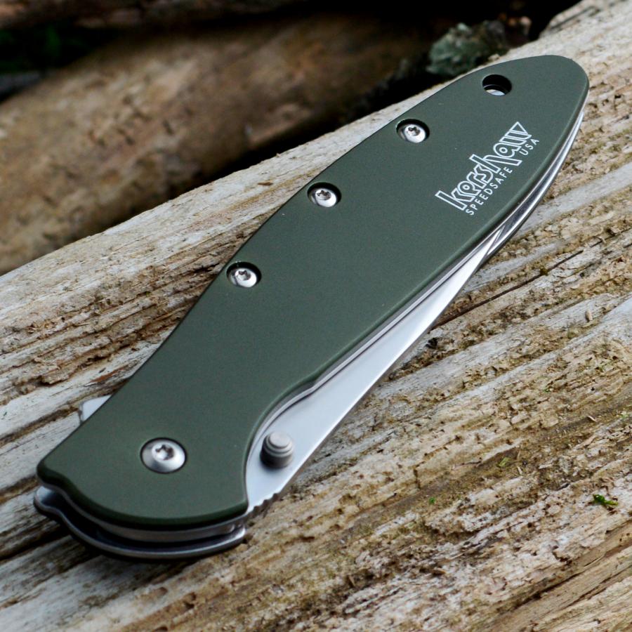 Фото 6 - Складной нож Leek - Kershaw 1660OL, сталь Sandvik™ 14C28N, рукоять анодированный алюминий оливкового цвета