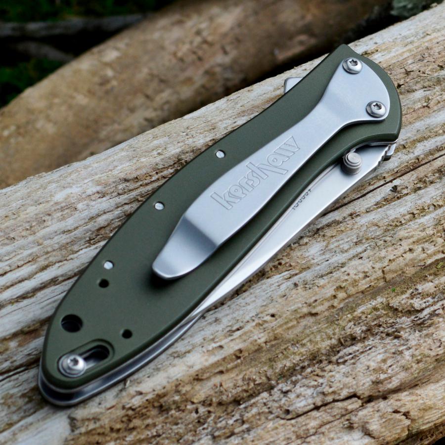Фото 7 - Складной нож Leek - Kershaw 1660OL, сталь Sandvik™ 14C28N, рукоять анодированный алюминий оливкового цвета