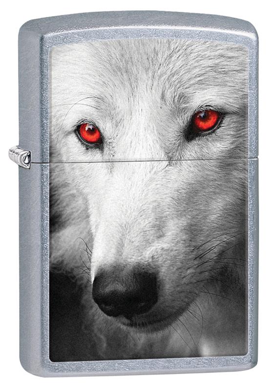 Зажигалка ZIPPO Classic Белый волк, покрытие Street Chrome™ зажигалка zippo classic с покрытием street chrome™ рисунок