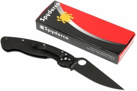 Нож складной Military™ Model - Spyderco C36GPBK, сталь Crucible CPM® S30V™ Black DLC coated Plain, рукоять стеклотекстолит G10, чёрный. Вид 13