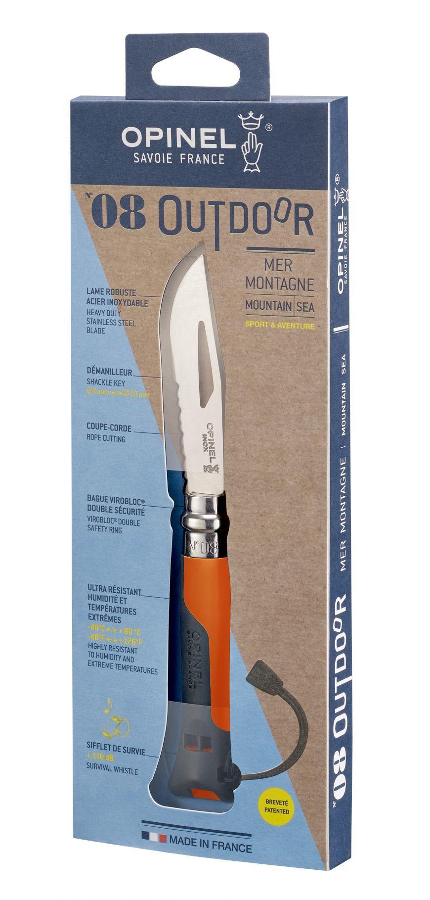 Фото 10 - Нож складной Opinel №8 VRI OUTDOOR Orange, сталь Sandvik 12C27, рукоять термопластик, оранжевый, 001577