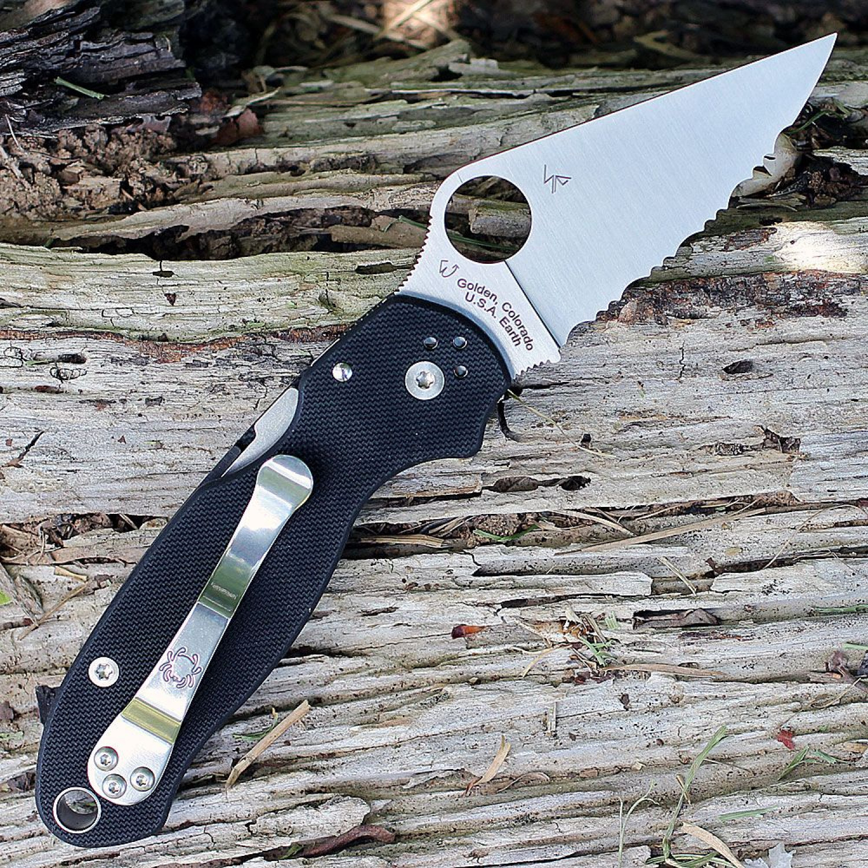 Фото 7 - Нож складной Para 3 - Spyderco 223GS, сталь Crucible CPM® S30V™ Satin Serrated, рукоять стеклотекстолит G10, чёрный