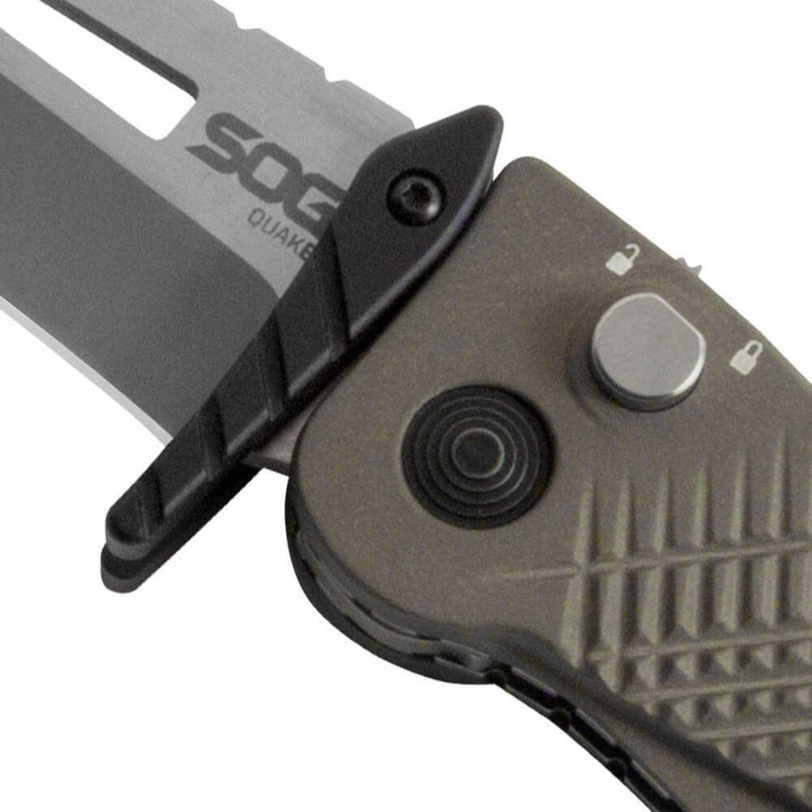 Фото 6 - Складной нож Quake - SOG IM1001, сталь VG-10, рукоять алюминий, зелёный