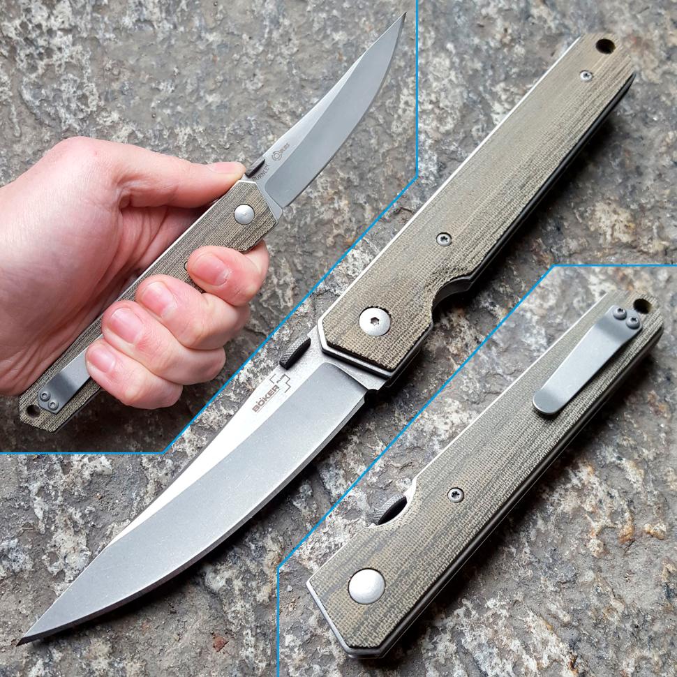Фото 7 - Нож складной Kwaiken Folder Micarta (IKBS®), Boker Plus 01BO291, сталь AUS-8 Stonewash Plain, рукоять микарта