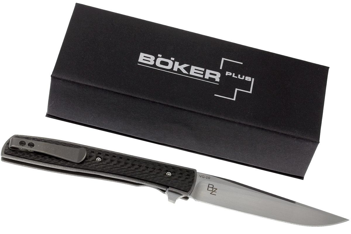 Фото 9 - Нож складной Urban Trapper Carbon - Boker Plus 01BO733, сталь VG-10 Satin, рукоять титан/карбон
