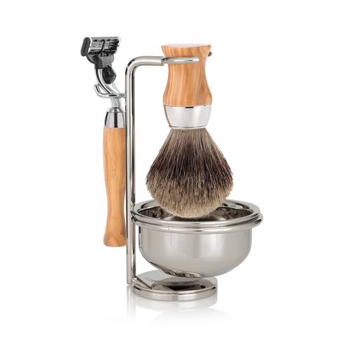 Набор для бритья Mondial ST-445-OMT  (станок, помазок, чаша, подставка), оливковое дерево. Вид 1