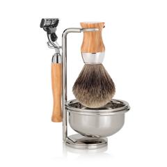 Набор для бритья Mondial ST-445-OMT  (станок, помазок, чаша, подставка), оливковое дерево, фото 1