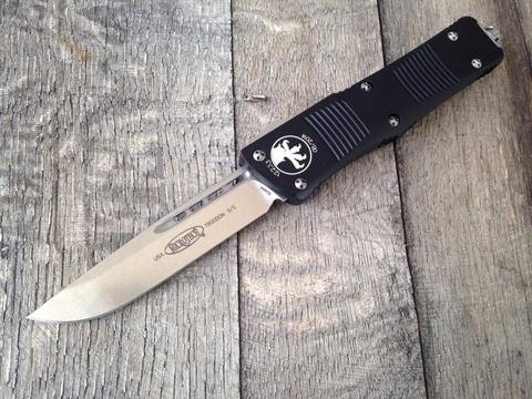 Автоматический фронтальный выкидной нож Troodon - Microtech 139-4 Black, сталь M390, рукоять алюминий. Вид 5