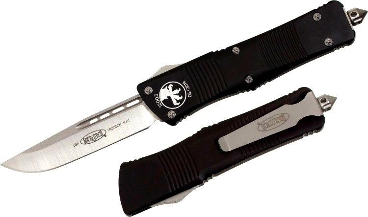 Фото 9 - Автоматический фронтальный выкидной нож Troodon - Microtech 139-4 Black, сталь M390, рукоять алюминий