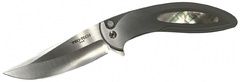 Складной нож Cambria Custom Flipper, Satin Finish 154CM, 2-Tone Matte Gray and Satin Finish Stainless Steel Handle with Pearl Inlay