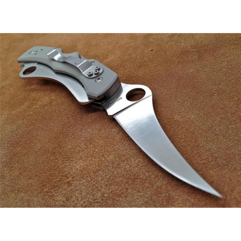 Фото 12 - Складной нож с двумя лезвиями Spyderco Dyad® - 44GP&SGY, сталь VG-10 Satin PlainEdge + Serrated (SpyderEdge™), рукоять стеклотекстолит G10, серый