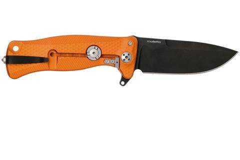 Нож складной LionSteel SR11A OB ORANGE, сталь Uddeholm Sleipner® Black Finish, рукоять алюминий (Solid®), оранжевый. Вид 4