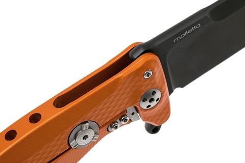Нож складной LionSteel SR11A OB ORANGE, сталь Uddeholm Sleipner® Black Finish, рукоять алюминий (Solid®), оранжевый. Вид 9