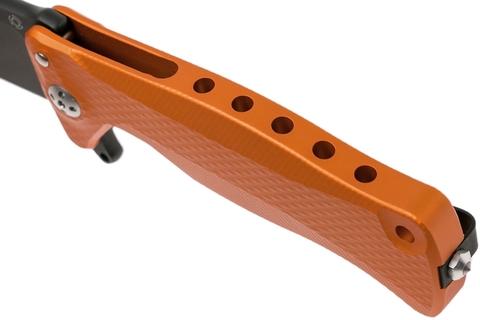 Нож складной LionSteel SR11A OB ORANGE, сталь Uddeholm Sleipner® Black Finish, рукоять алюминий (Solid®), оранжевый. Вид 10