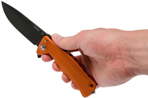 Нож складной LionSteel SR11A OB ORANGE, сталь Uddeholm Sleipner® Black Finish, рукоять алюминий (Solid®), оранжевый. Вид 6