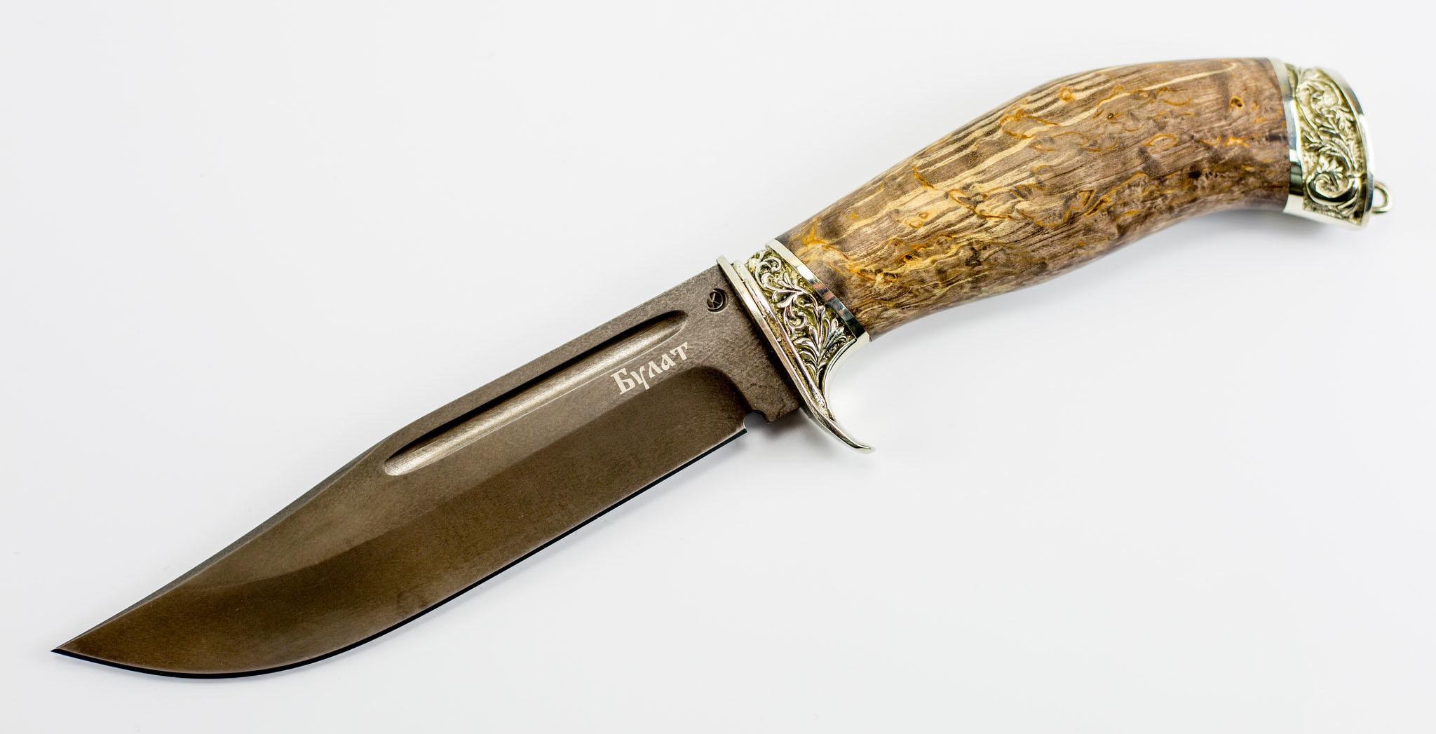 Нож Сайга, сталь булат, художественное литье, рукоять карельская береза