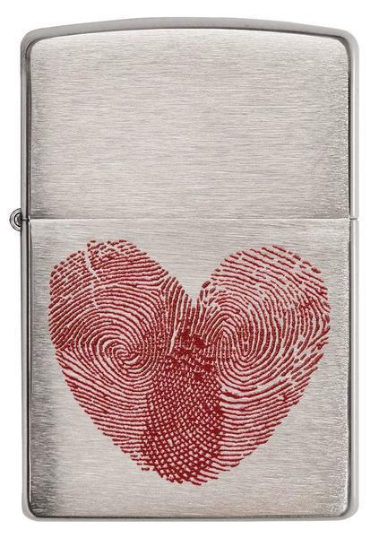 Зажигалка ZIPPO Classic Сердце с покрытием Brushed Chrome, латунь/сталь, серебристая, матовая, 36x12x56 мм цифра 6 euro 45х30 мм цам цвет матовая латунь