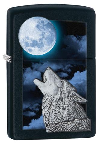 Зажигалка ZIPPO Classic Волк с покрытием Black Matte. Вид 1