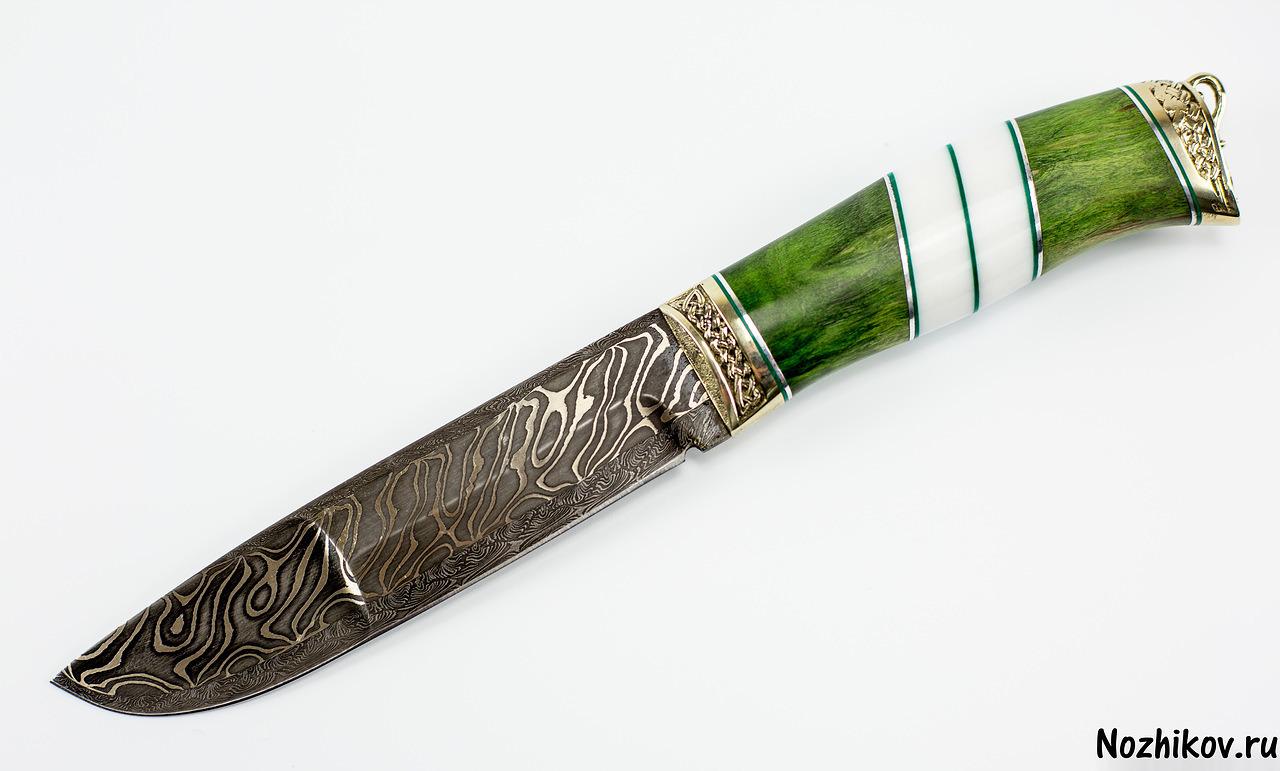 Нож из ламинированной дамасской стали Путник, карельская береза