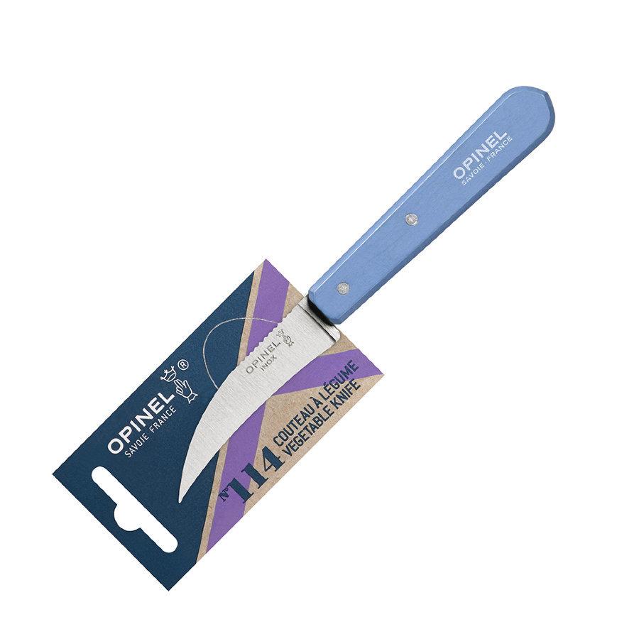 Нож для чистки овощей Opinel №114, деревянная рукоять, нержавеющая сталь, синий