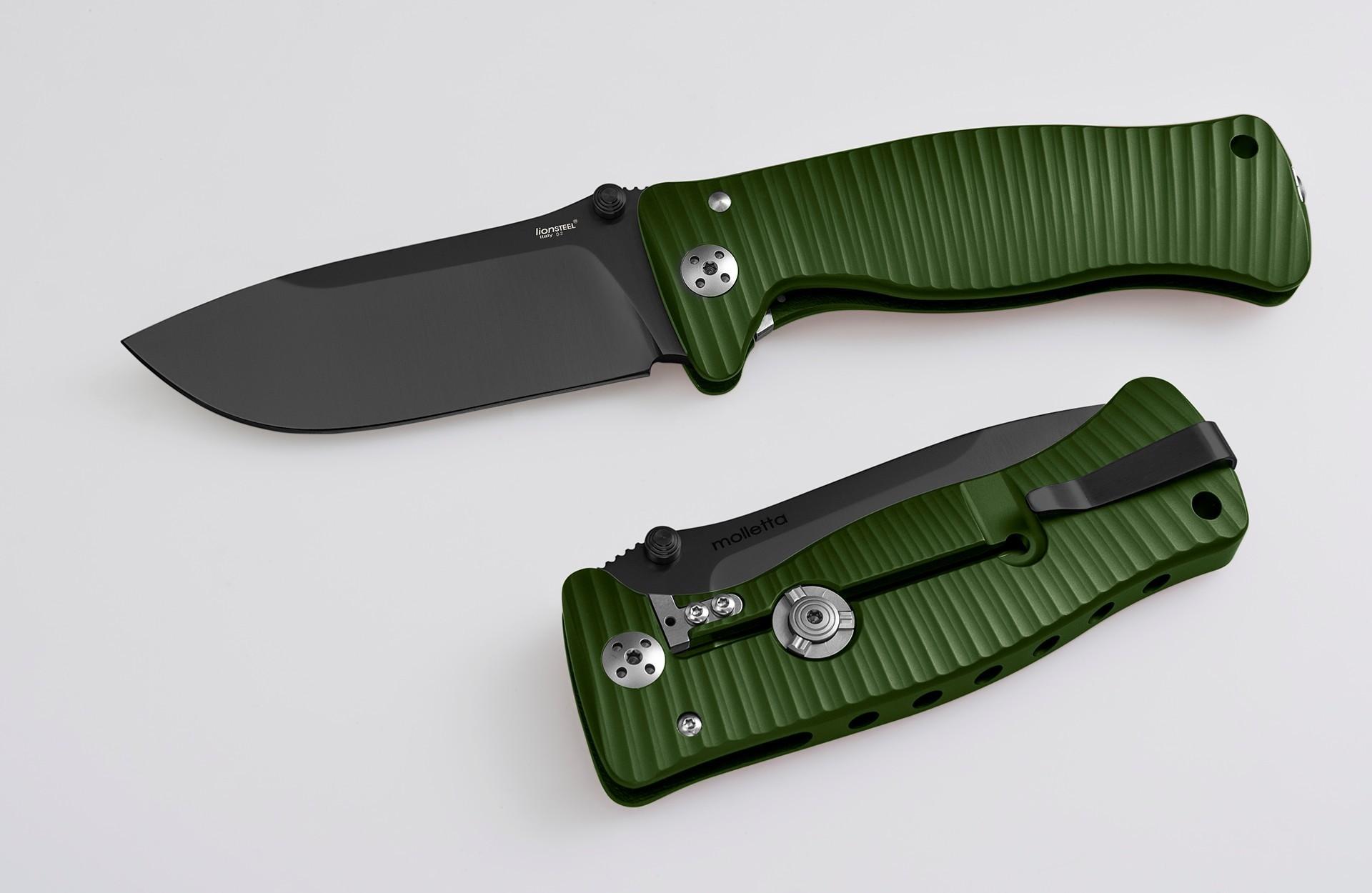Фото 3 - Нож складной LionSteel SR1A GB, сталь D2, рукоять алюминий, зелёный от Lion Steel