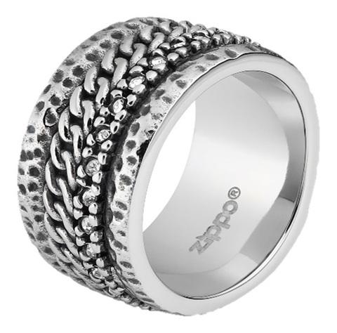 Кольцо ZIPPO, серебристое, с цепочным орнаментом, нержавеющая сталь, 1,2x0,25 см, диаметр 19,1 мм. Вид 1