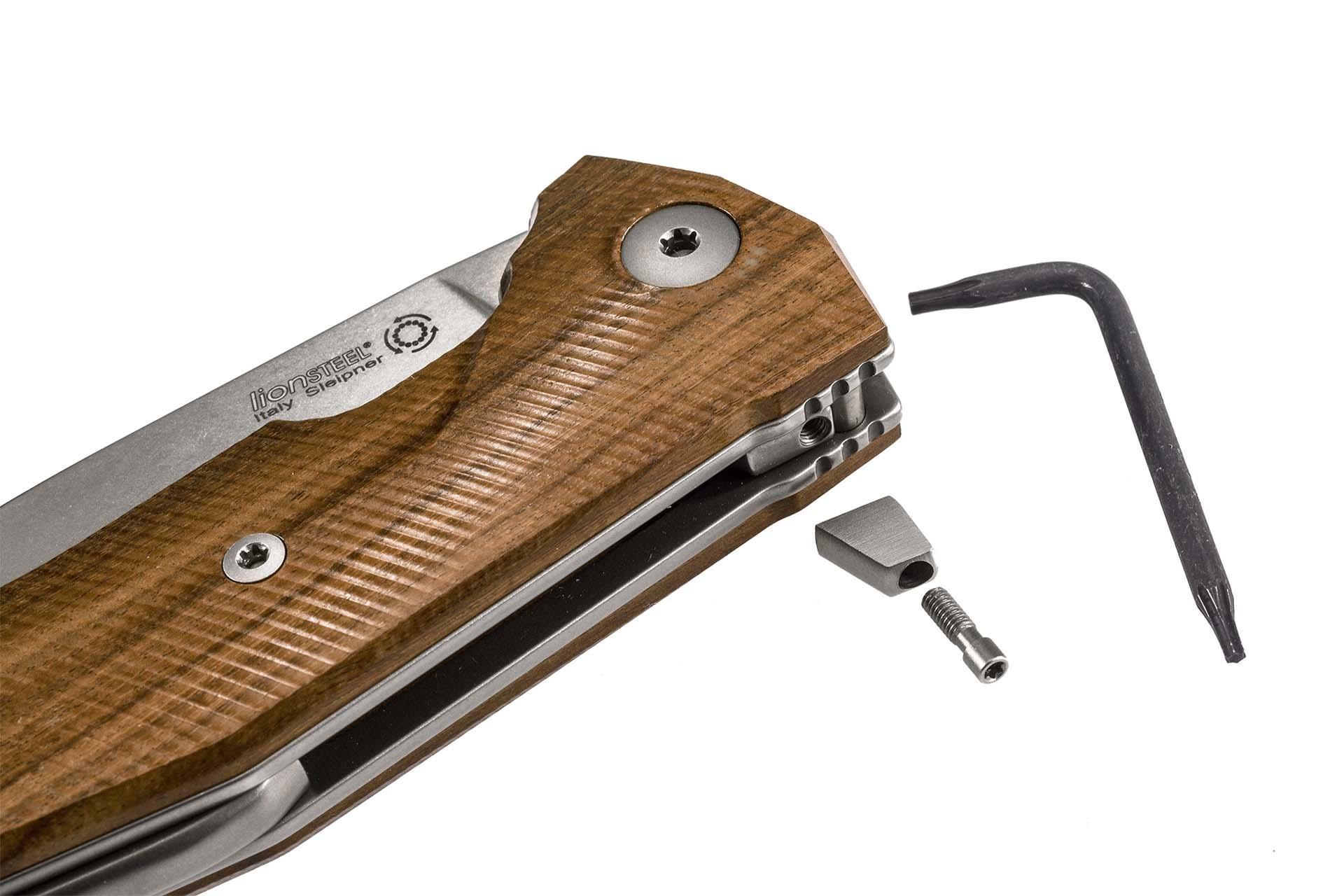 Фото 7 - Нож складной LionSteel KUR ST Santos Wood, сталь Stonewashed Uddeholm Sleipner®, рукоять палисандр от Lion Steel