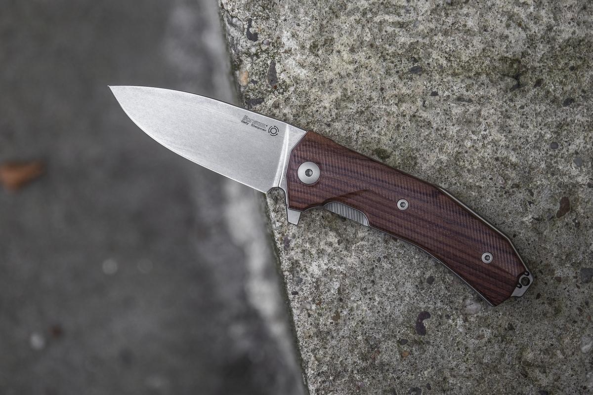 Фото 10 - Нож складной LionSteel KUR ST Santos Wood, сталь Stonewashed Uddeholm Sleipner®, рукоять палисандр от Lion Steel