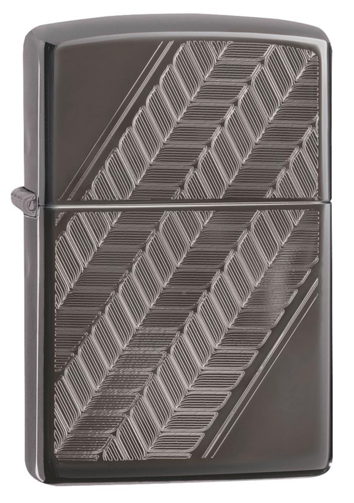Зажигалка ZIPPO Luxury Design с покрытием Black Ice®, латунь/сталь, чёрная, глянцевая, 36х12х56 мм