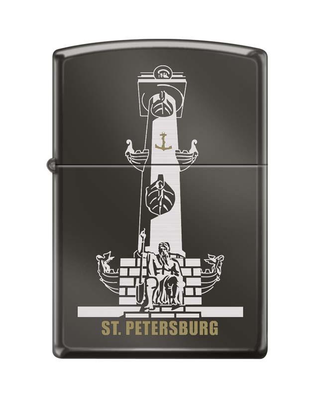 Зажигалка ZIPPO Ростральная колонна, с покрытием Black Ice®