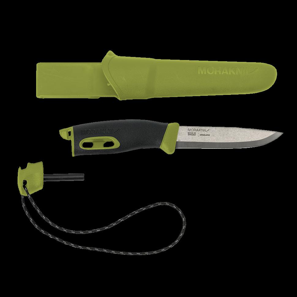 Нож с фиксированным лезвием Morakniv Companion Spark (S) Green, сталь Sandvik 12C27, рукоять резина/пластик