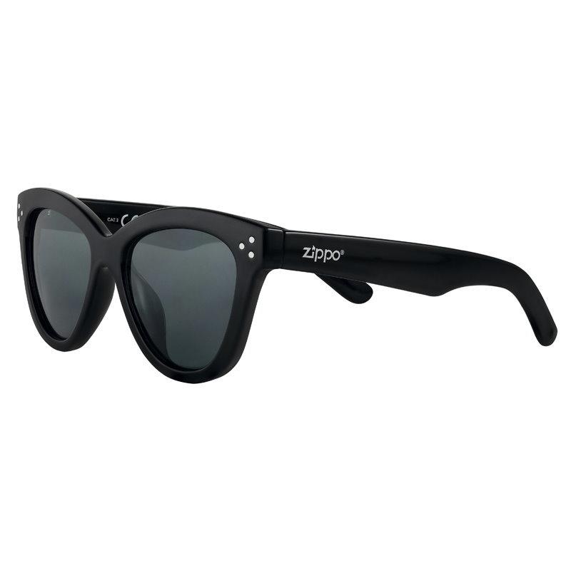 Фото - Очки солнцезащитные ZIPPO OB85-01, женские, чёрные, оправа из поликарбоната очки солнцезащитные zippo ob70 01 унисекс чёрные оправа из поликарбоната