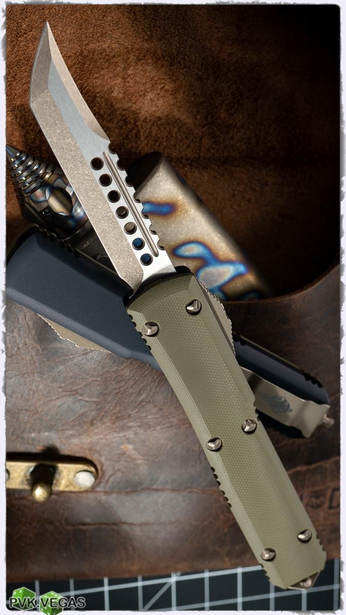 Автоматический выкидной нож Microtech Ultratech Hellhound, сталь CTS-204P, рукоять зеленый G10, клинок бронза