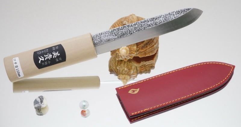 Нож Makiri 135 mm, кожаные ножны