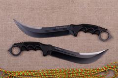 Нож с фиксированным клинком Honshu Aizu Ring Fighter, сталь 7Cr17MoV, рукоять Kraton, в чехле, фото 5