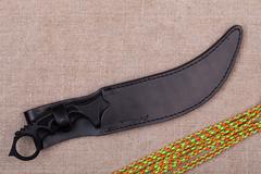 Нож с фиксированным клинком Honshu Aizu Ring Fighter, сталь 7Cr17MoV, рукоять Kraton, в чехле, фото 4