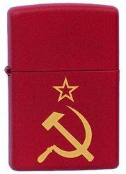 цена на Зажигалка ZIPPO Серп и Молот Red Matte, латунь с порошковым покрытием, красная, матовая, 36х56х12 мм