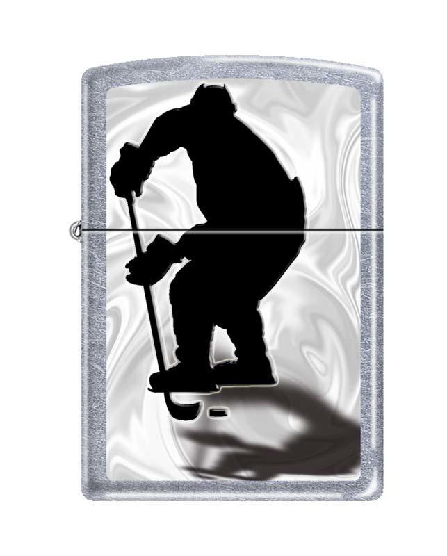 Зажигалка ZIPPO Хоккеист, латунь/сталь с покрытием Street Chrome™, серебристая, матовая, 36x12x56 мм зажигалка брелок газовая граната ф 1 сталь
