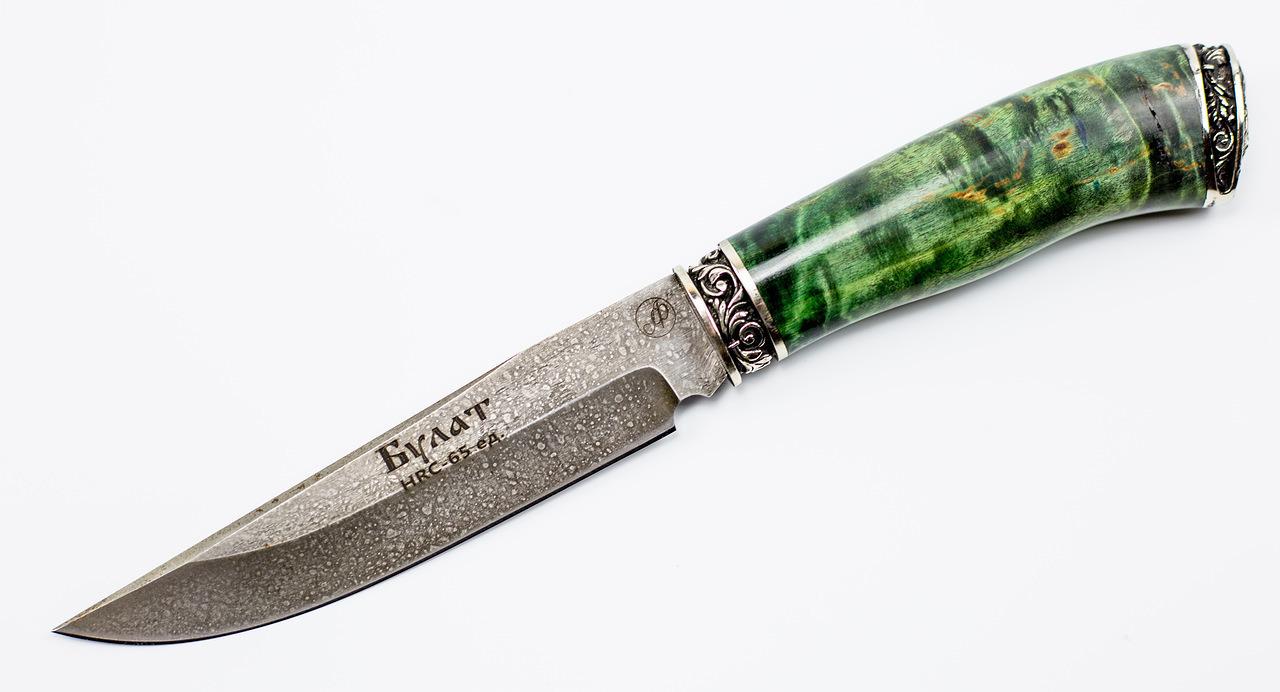 Нож Осетр, литой булат Баранова, карельская береза