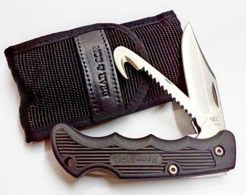 Складной нож Bear & Son, Cushioned Grip, 460GH, нержавеющая сталь 440, с двумя лезвиями. Вид 2