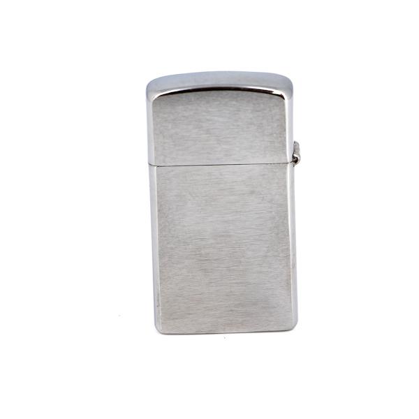 Зажигалка ZIPPO Slim® с покрытием Brushed Chrome, латунь/сталь, серебристая, матовая, 30х10x55 мм