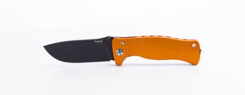 Нож складной LionSteel SR1A OB ORANGE, сталь D2 Black Finish, рукоять алюминий (Solid®), оранжевый. Вид 5