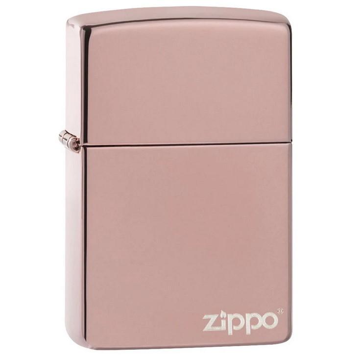 Зажигалка ZIPPO Logo Classic с покрытием High Polish Rose Gold, латунь/сталь, розовое золото, 36х12х56 мм