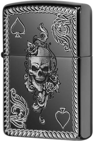 Зажигалка ZIPPO Armor® Череп с покрытием Black Ice®, латунь/сталь, чёрная, глянцевая, 36x12x56 мм недорого