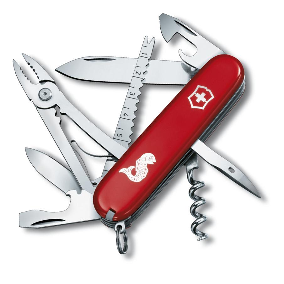 Нож перочинный Victorinox Angler 1.3653.72 91мм 18 функций красный с логотипом рыба