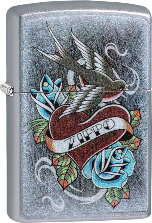 Зажигалка ZIPPO Vintage Tattoo с покрытием Street Chrome™, латунь/сталь, серебристая, 36x12x56 мм