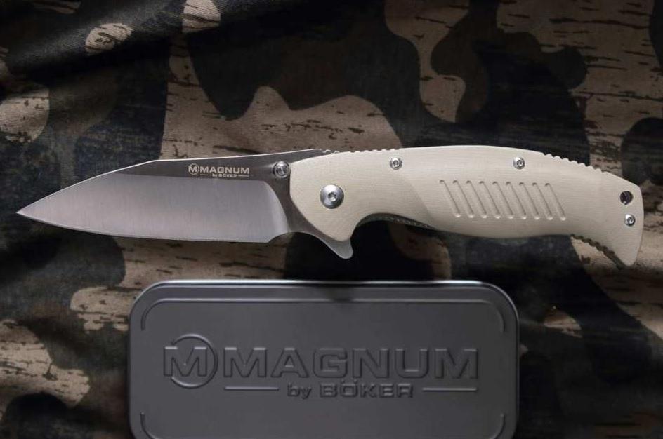 Фото 8 - Нож складной Magnum Delta Whiskey - Boker 01MB703, сталь 440B Satin Plain, рукоять стеклотекстолит G10, бежевый